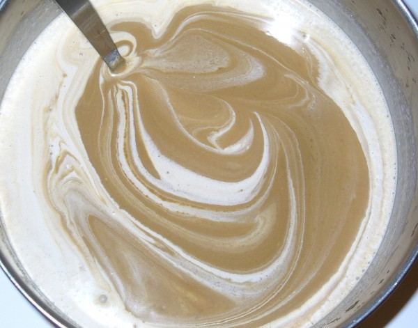 blend whipping cream into coffee ice cream custard