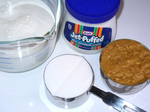 Peanut Butter Marshmallow Ice Cream first part ingredients