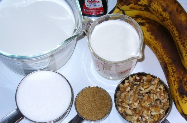 ingredients need for banana nut ice cream recipe